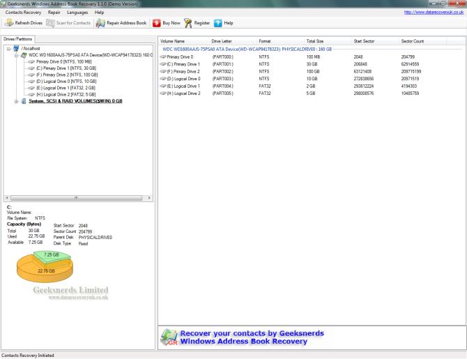 Geeksnerds Windows AddressBook Recovery Screen shot