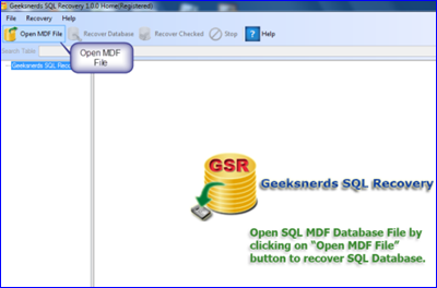 Click to view Geeksnerds SQL Recovery screenshots
